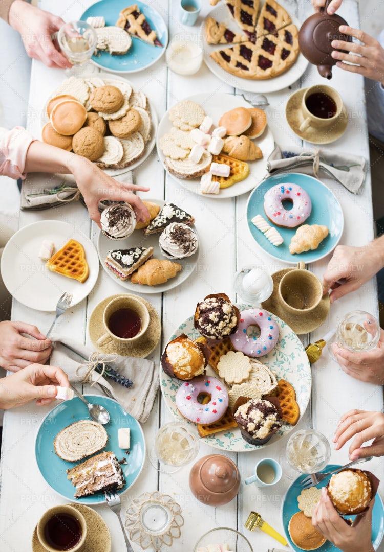 Desserts And Tea: Stock Photos