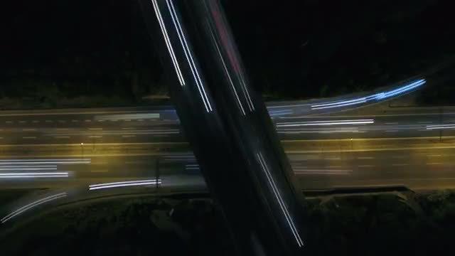 4K Timelapse night traffic aerial shooting: Stock Video