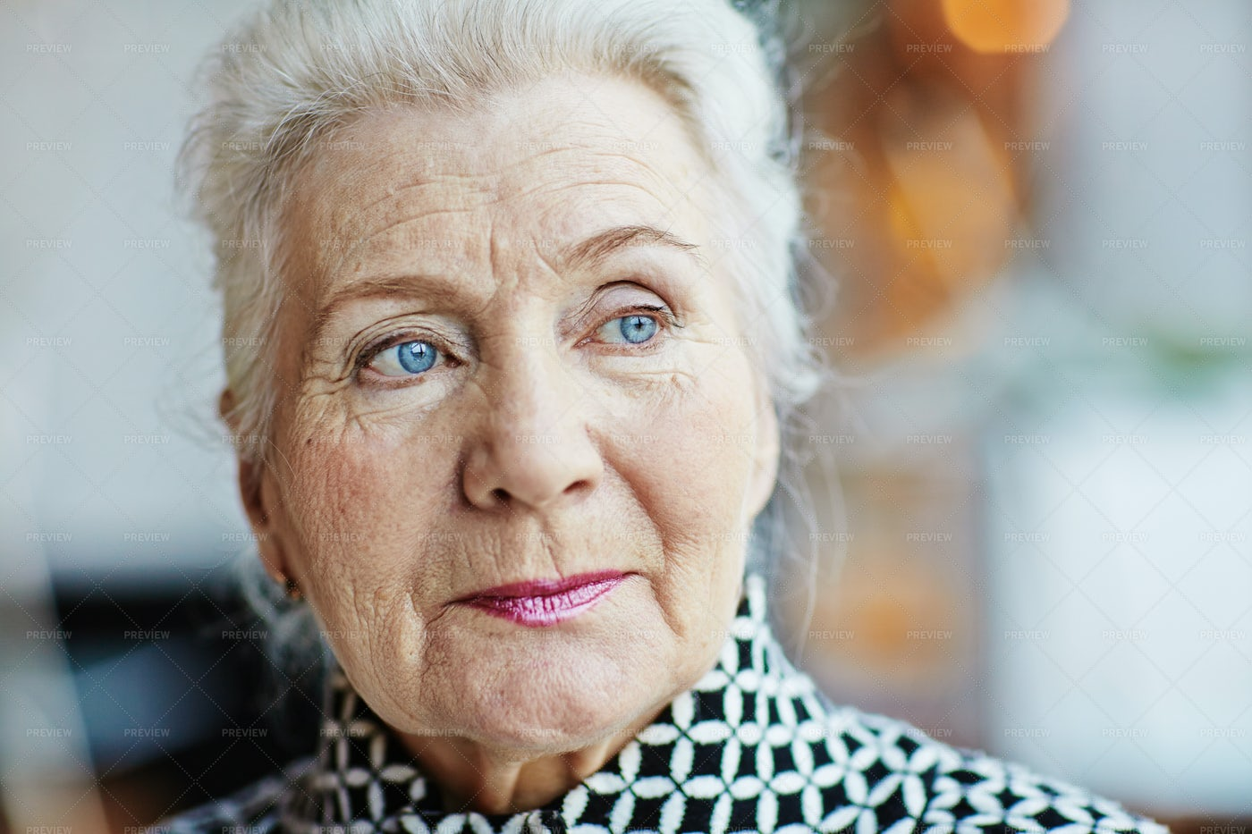 Portrait Of Blue-eyed Senior Woman: Stock Photos