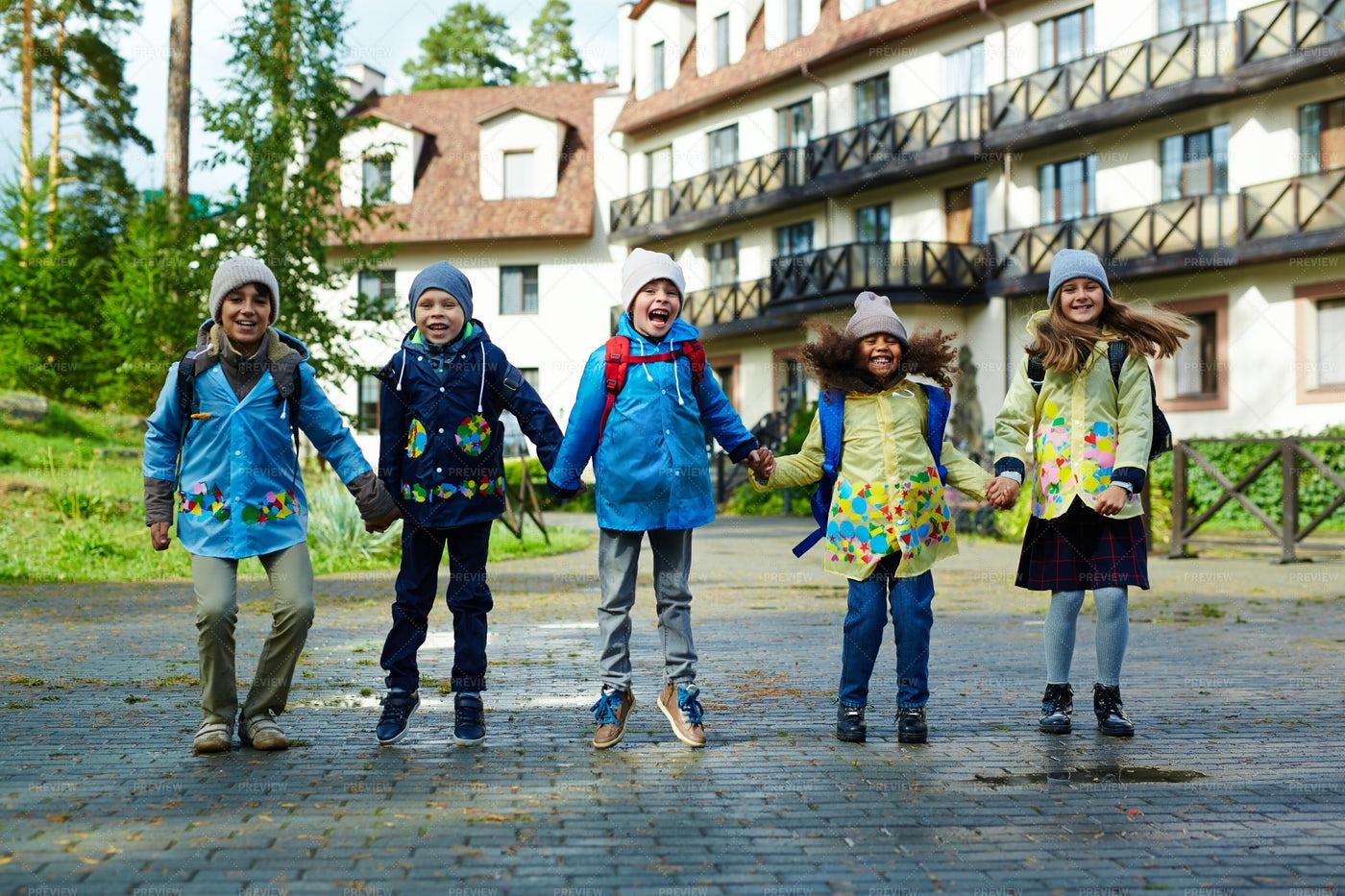 Happy Kids Going To School: Stock Photos