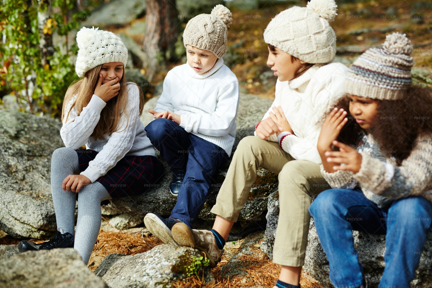 Kids Resting In Sunny Autumn  Forest: Stock Photos