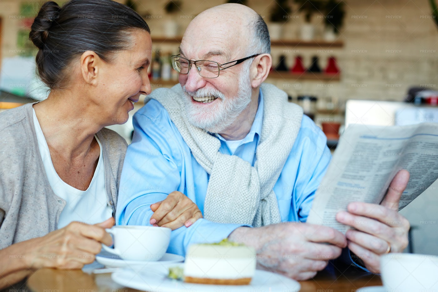 Aged Couple In Cafe: Stock Photos