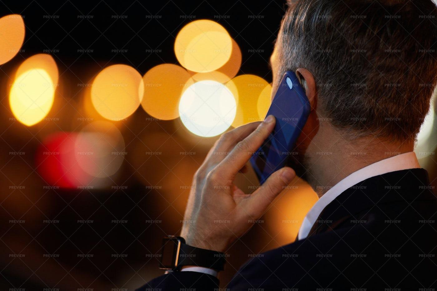 Phoning At Night: Stock Photos
