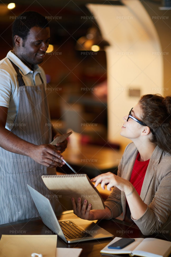 Consulting With Waiter: Stock Photos