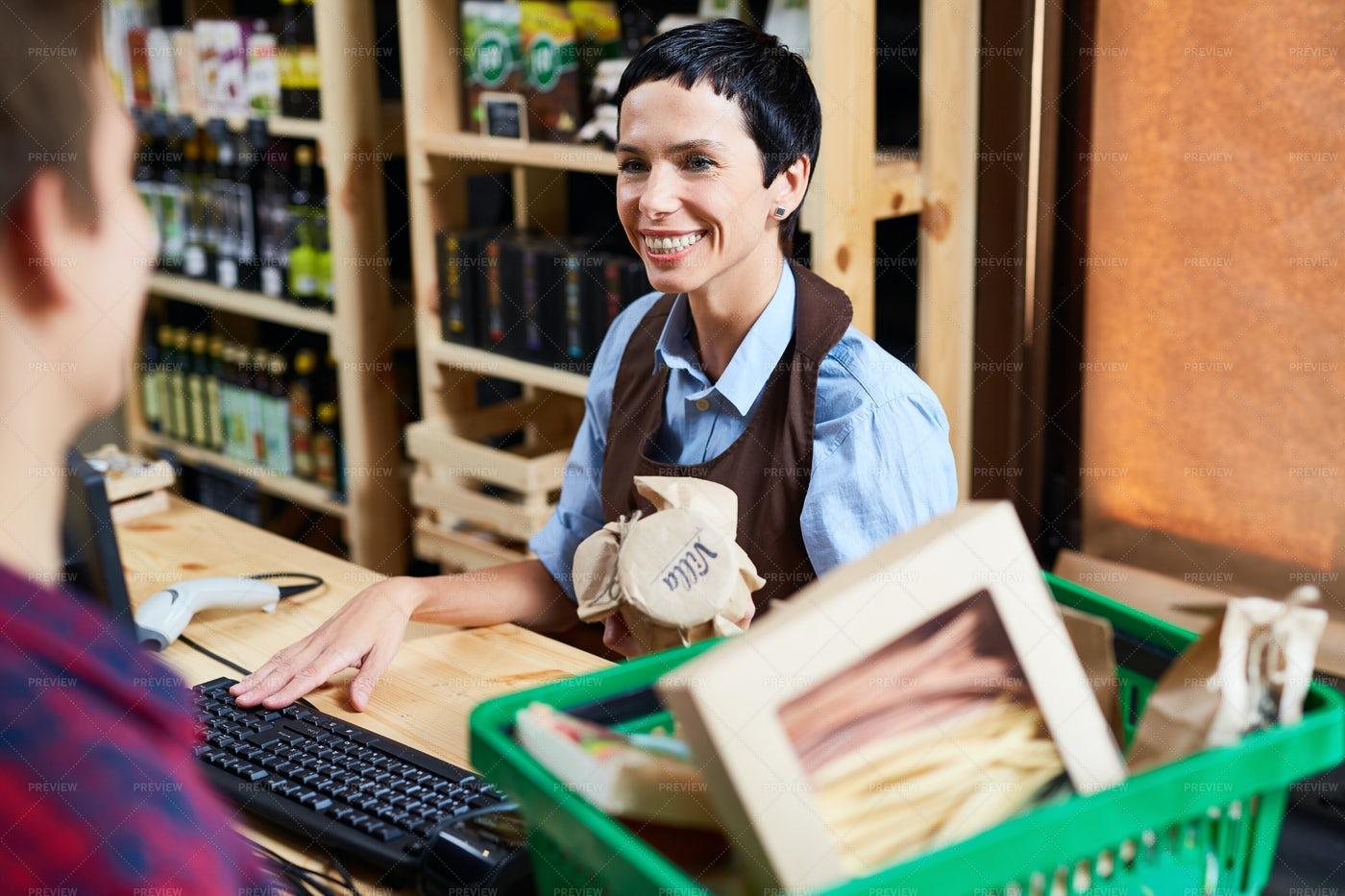 Vendor In Supermarket: Stock Photos
