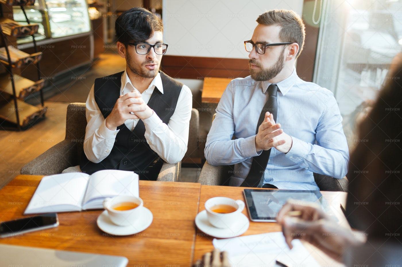 Talking At Tea-break: Stock Photos