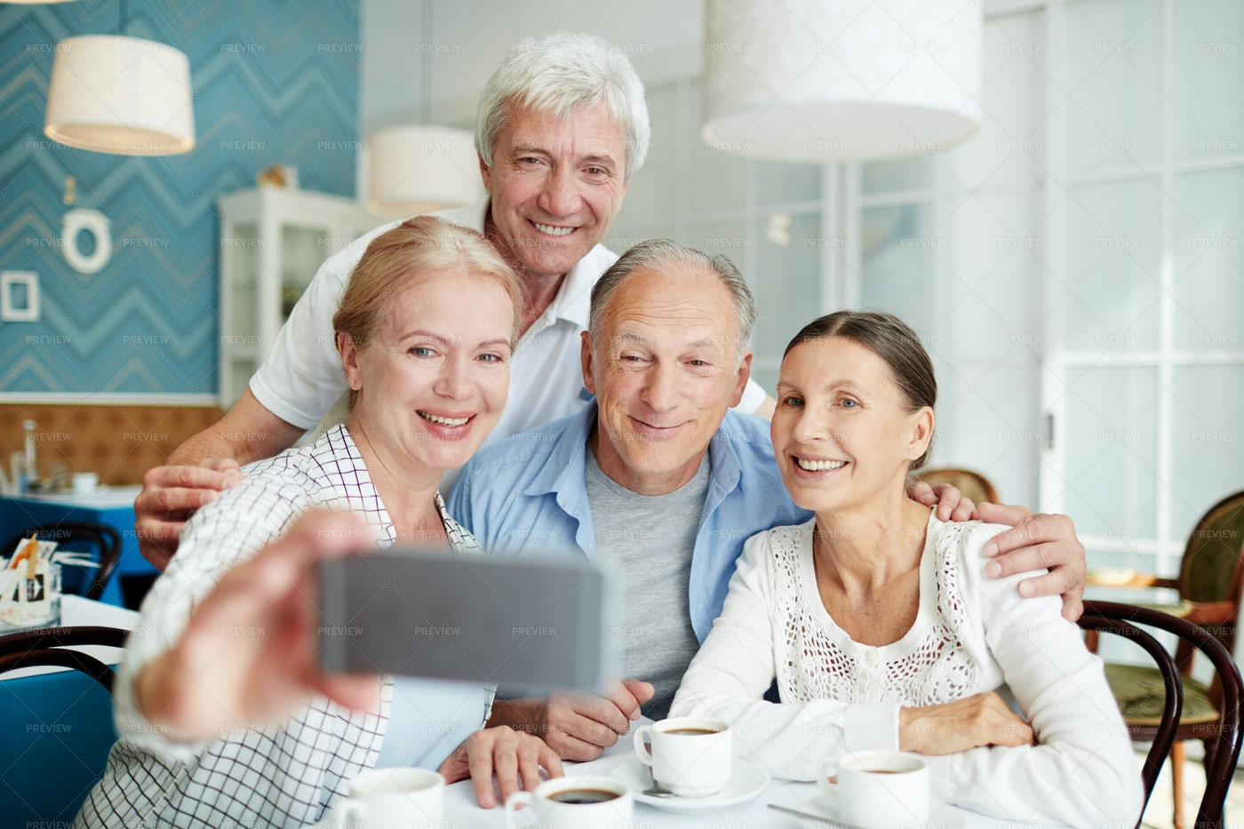 Taking Selfie With Friends: Stock Photos