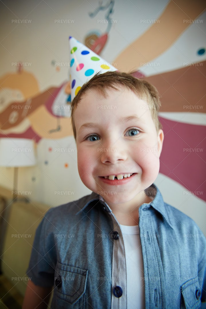 Boy At Birthday Party: Stock Photos