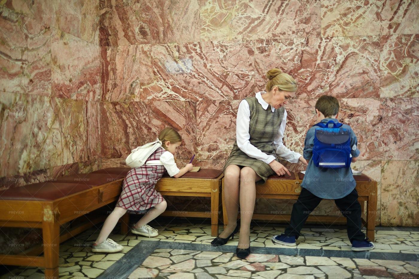 Teacher And Schoolkids In Museum: Stock Photos