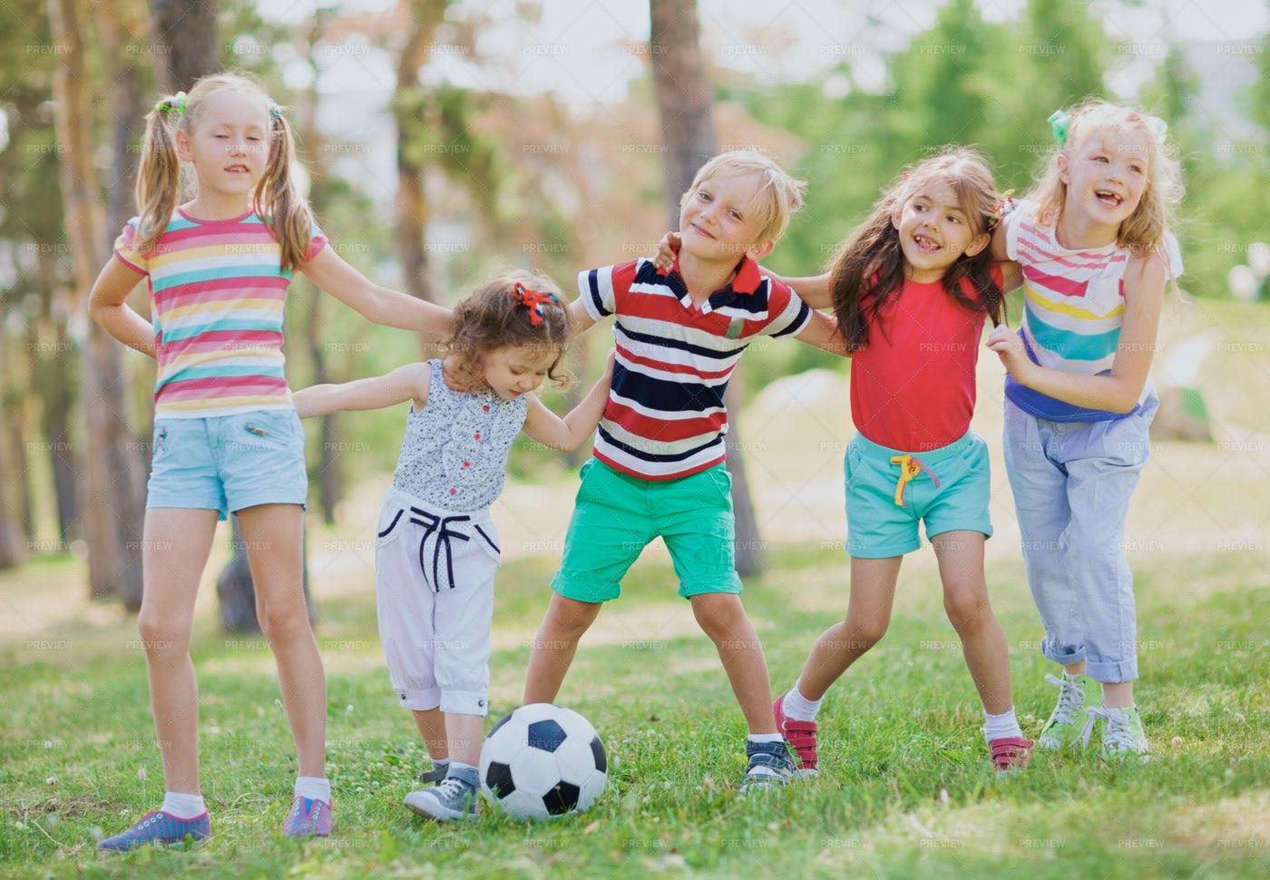 Happy Kids In Park: Stock Photos