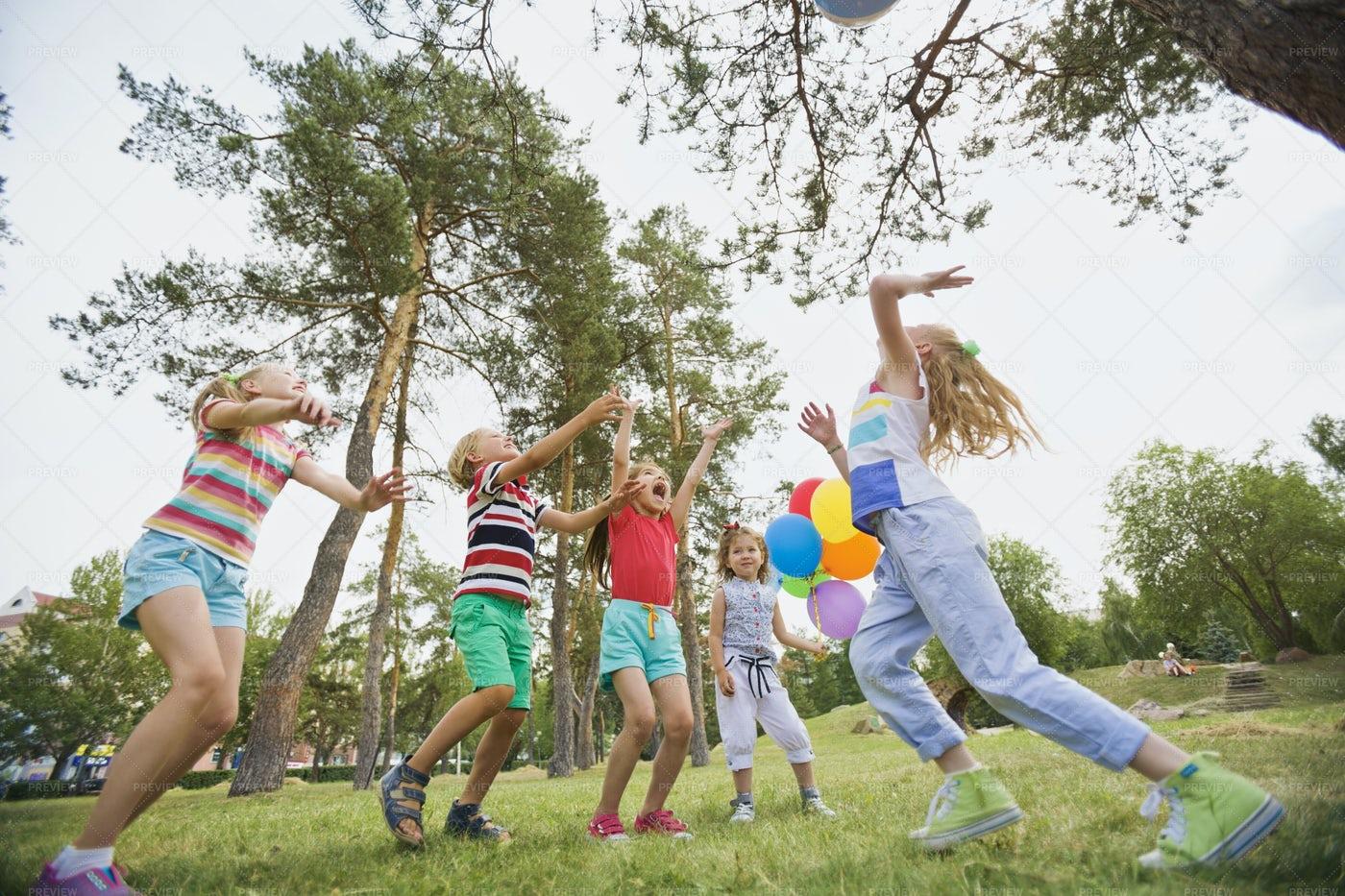 Kids Having Fun Outdoors: Stock Photos