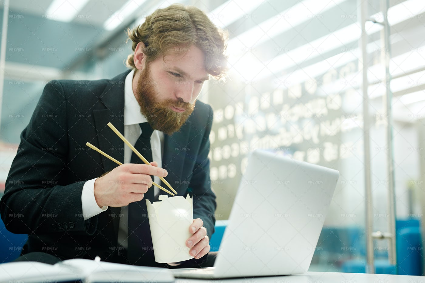 Dining In Front Of Laptop: Stock Photos