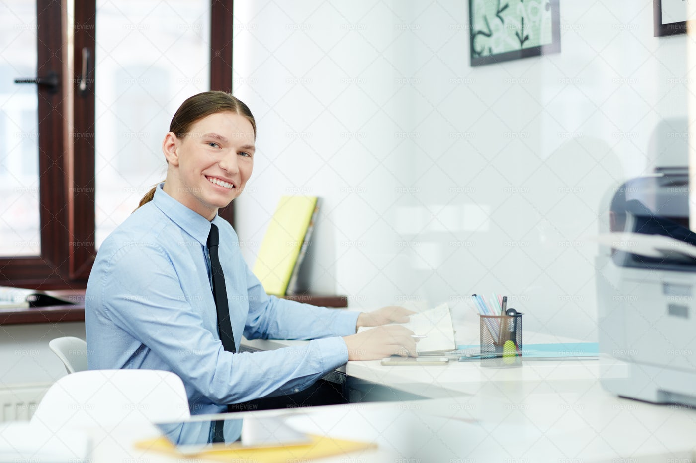 Portrait Of Smiling White Collar Worker: Stock Photos