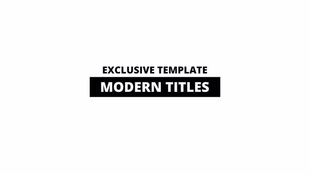 Modern Titles: Motion Graphics Templates