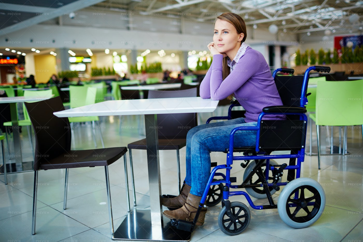 Disabled Girl In Mall: Stock Photos