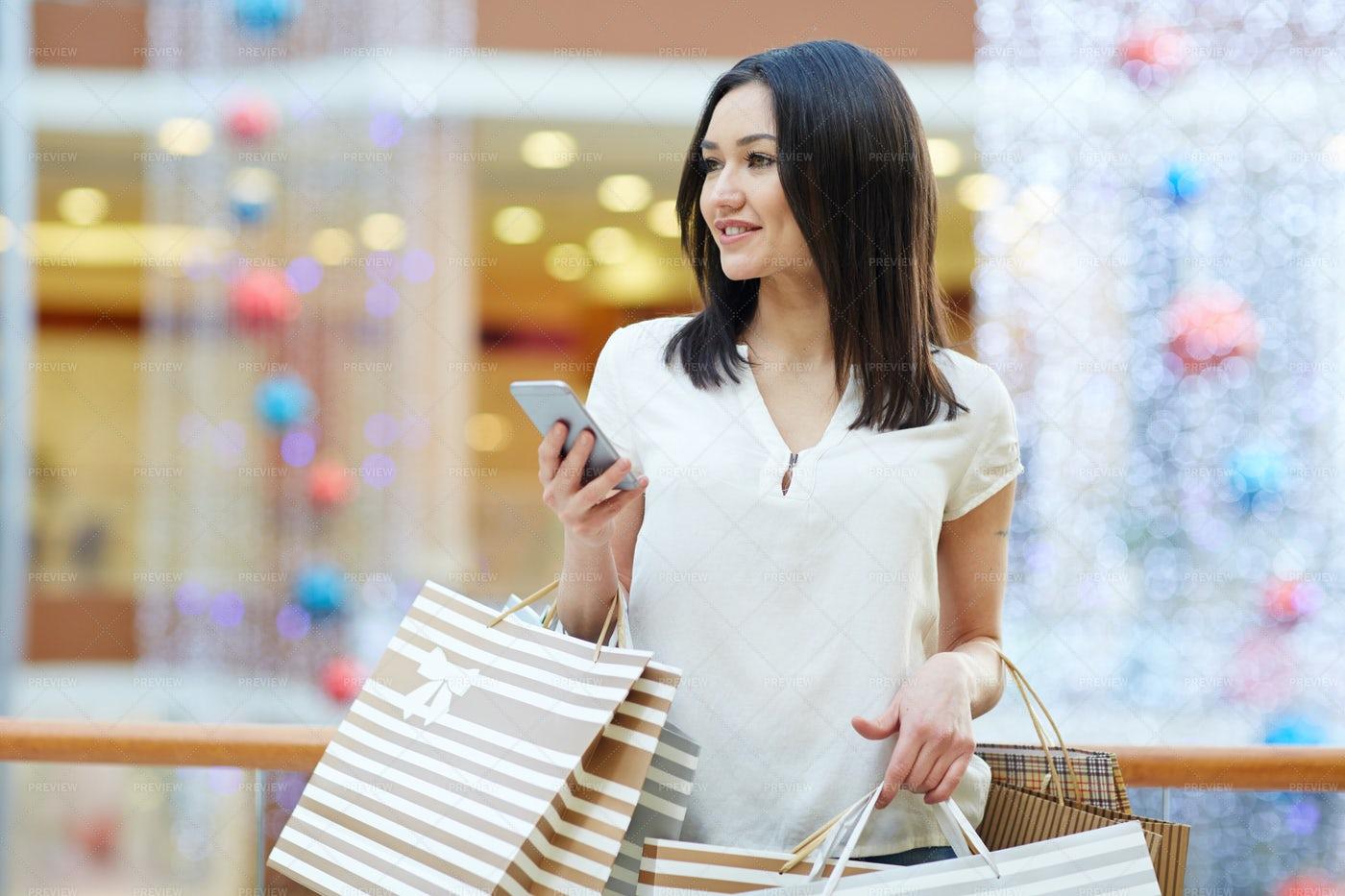 Shopper With Smartphone: Stock Photos