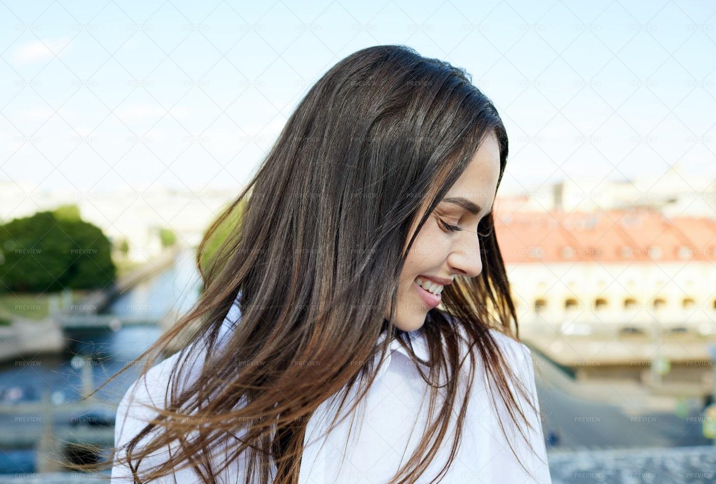 Happy Beautiful Girl Enjoying Wind: Stock Photos