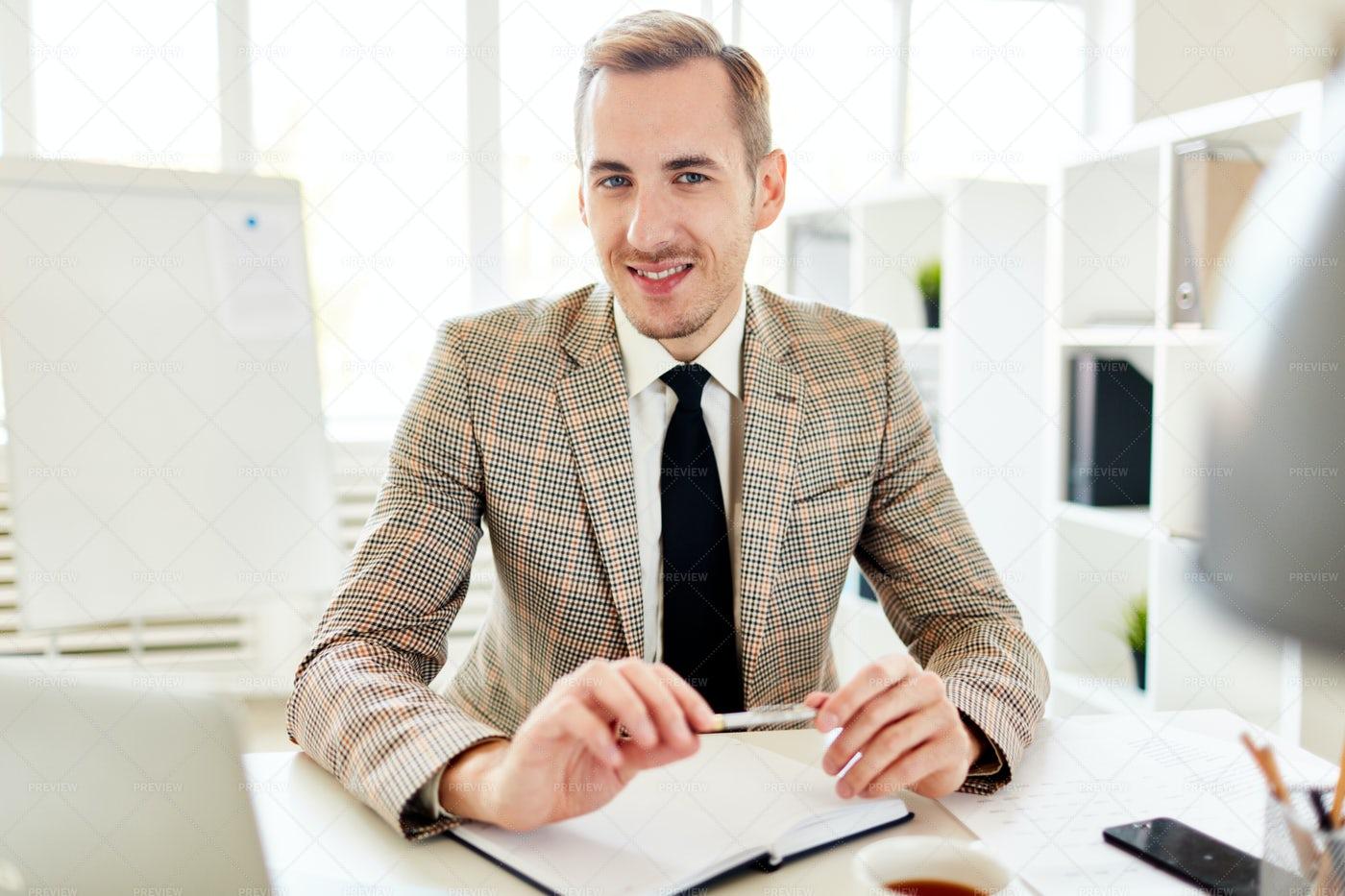 Portrait Of Elegant Entrepreneur At Work: Stock Photos