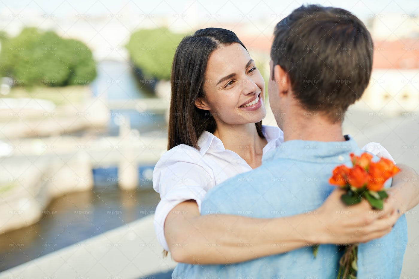 Affectionate Girl Looking At Boyfriend: Stock Photos