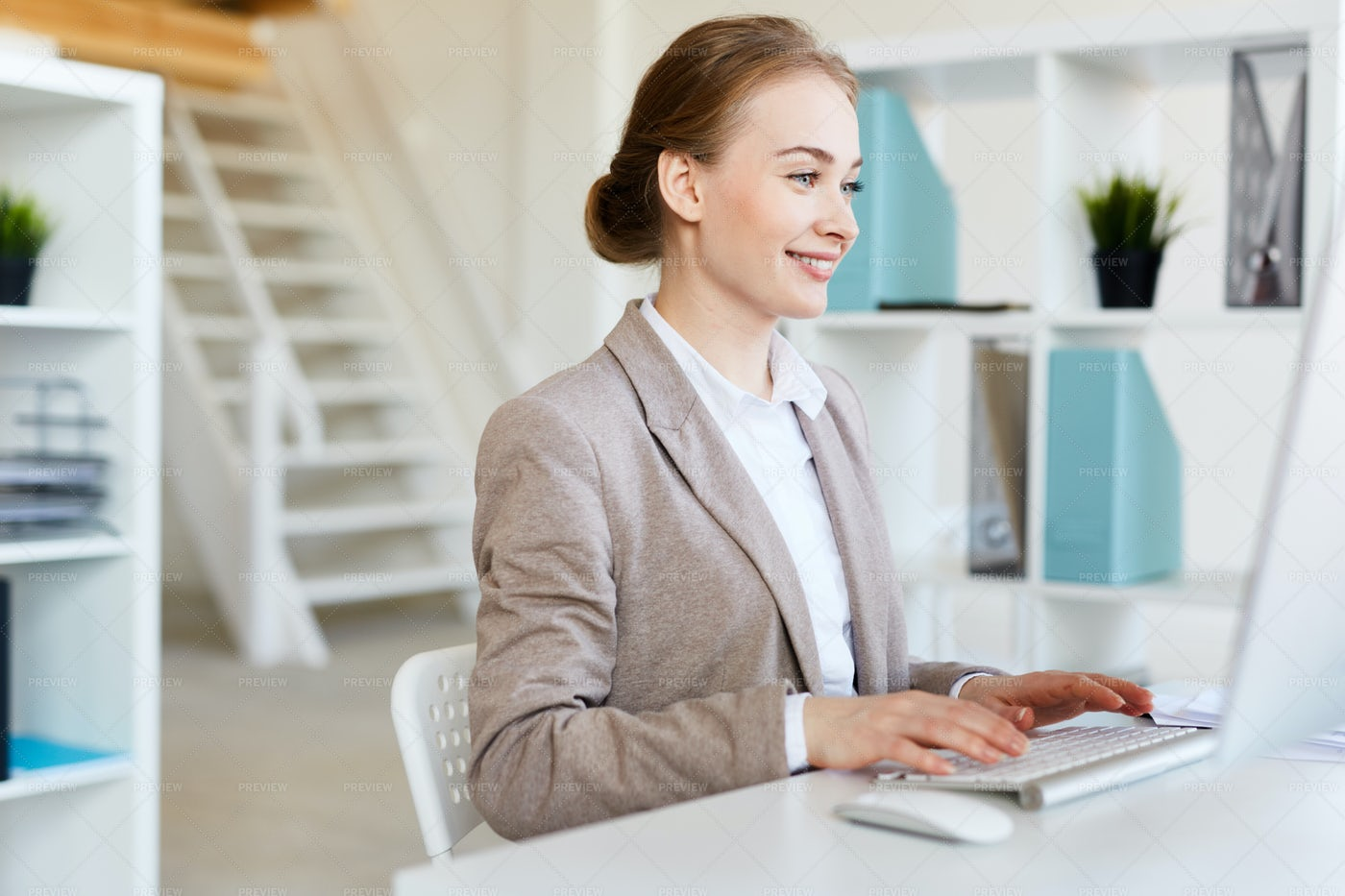 Smiling Pretty Entrepreneur At Work: Stock Photos