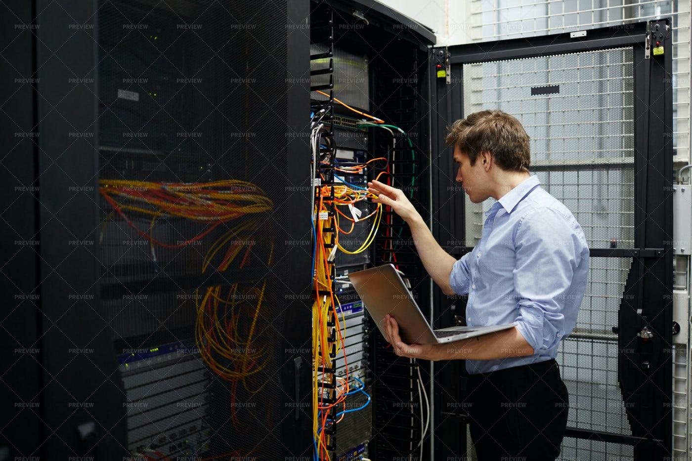 Working In Data Storage Lab: Stock Photos