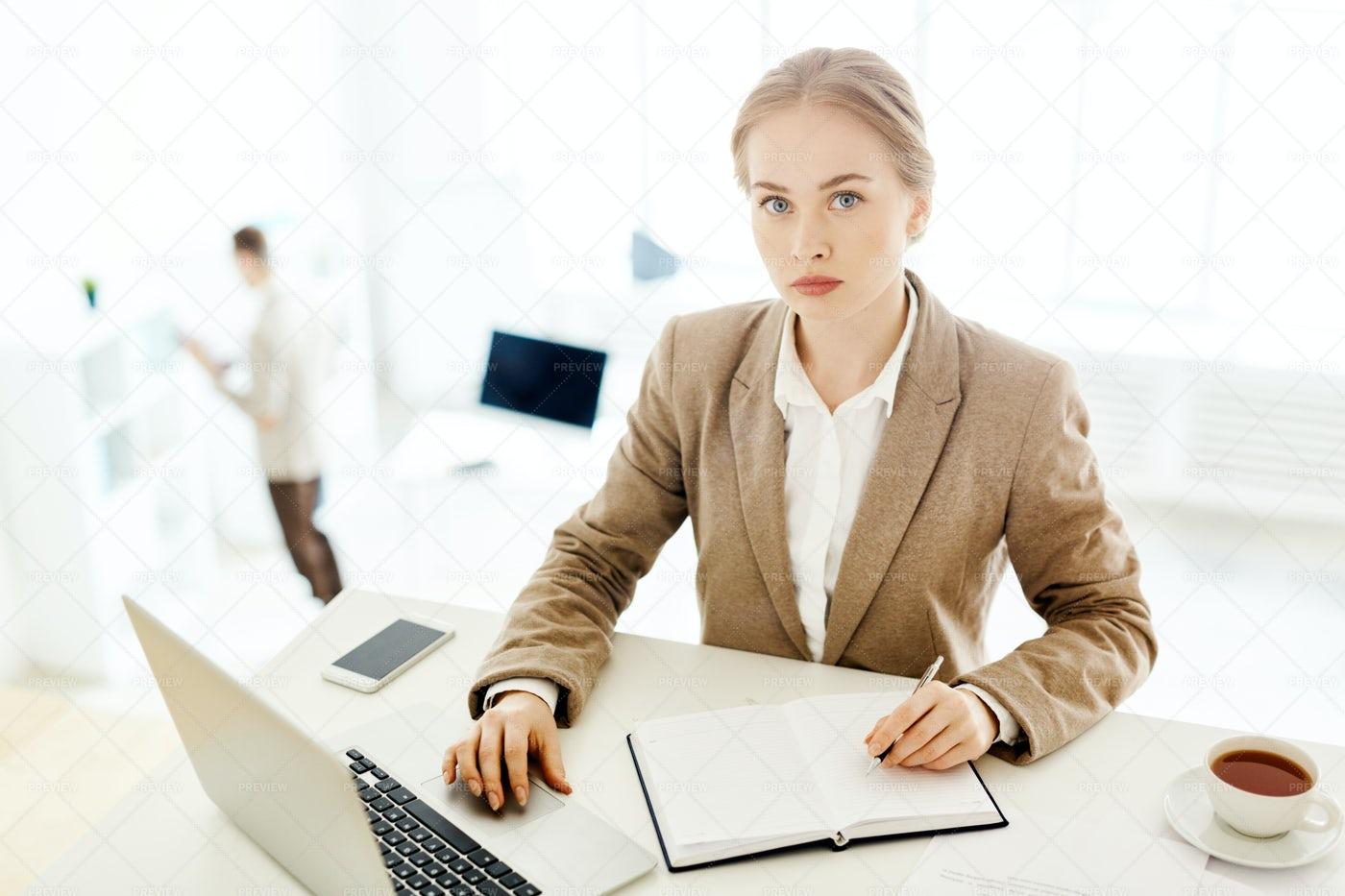 Portrait Of Elegant White Collar Worker: Stock Photos