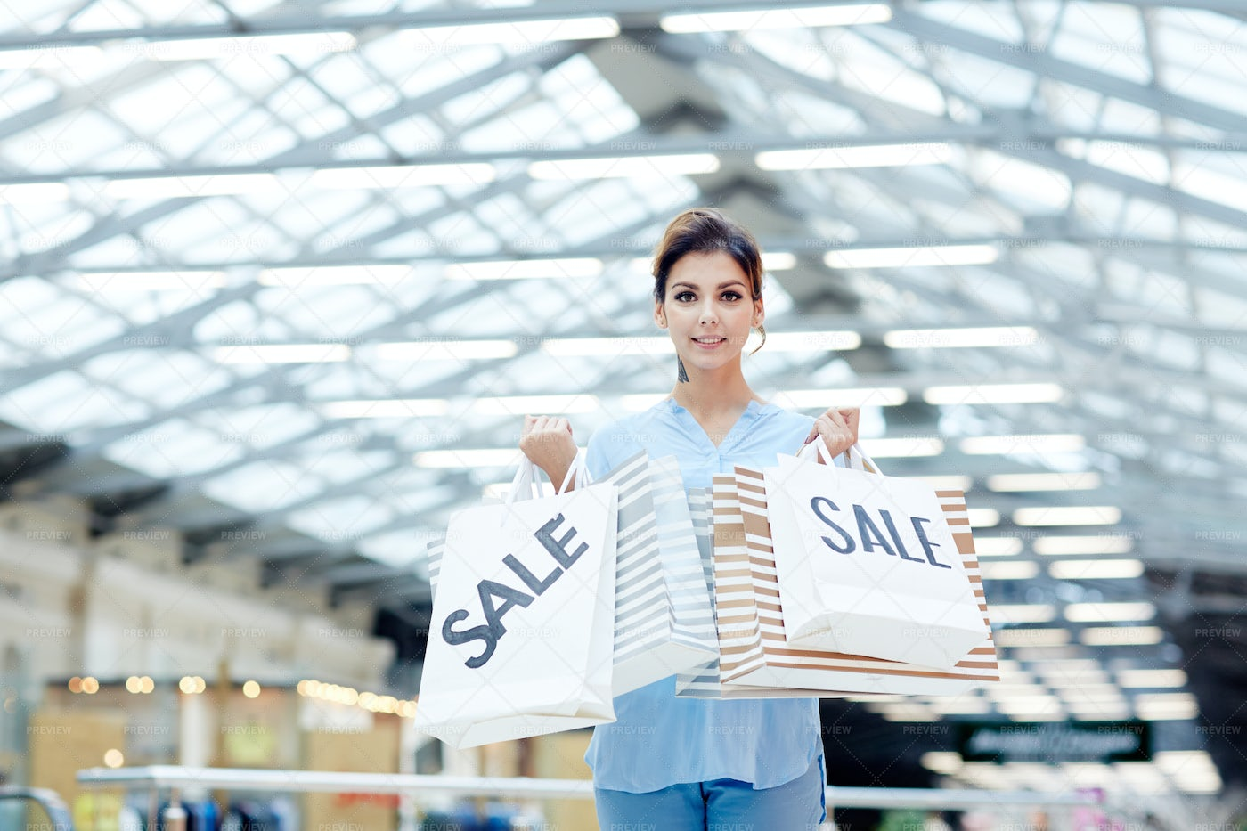 Shopaholic With Paperbags: Stock Photos