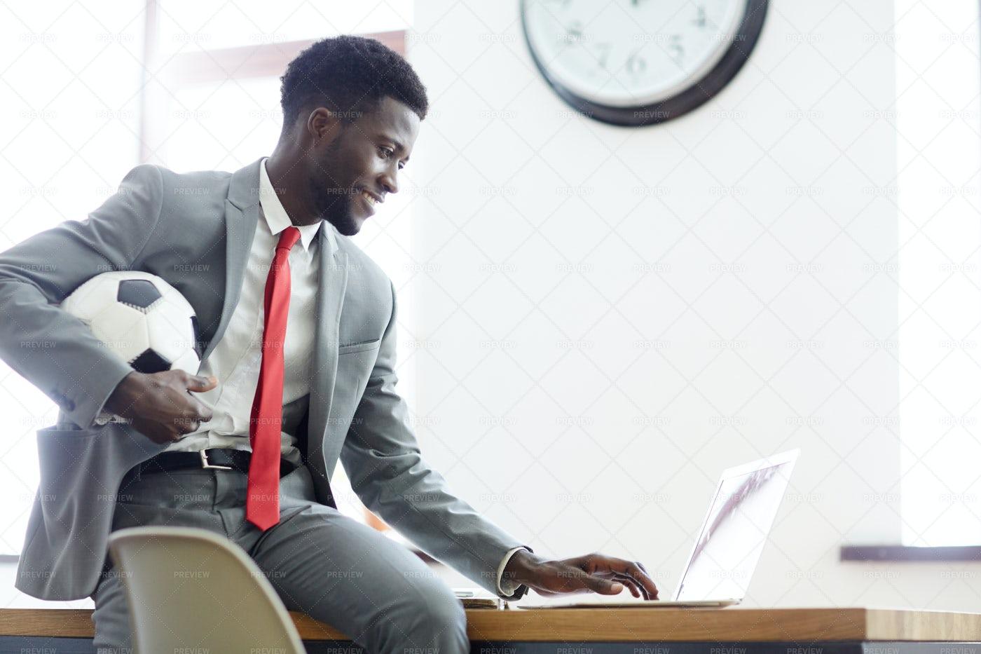 Businessman With Soccer Ball: Stock Photos
