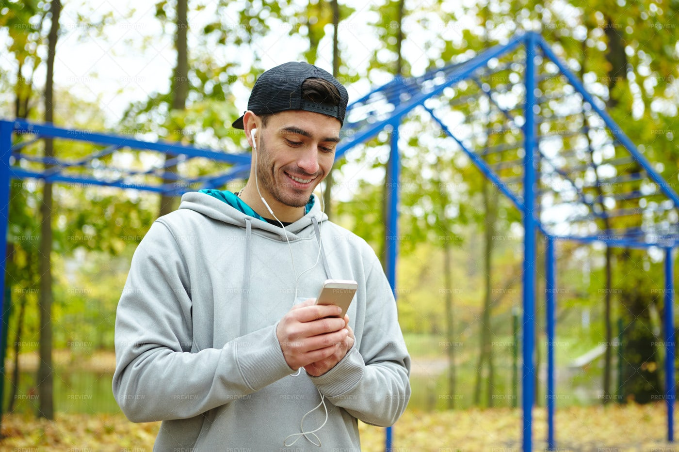 Sportsman Psych Himself Up For Workout: Stock Photos
