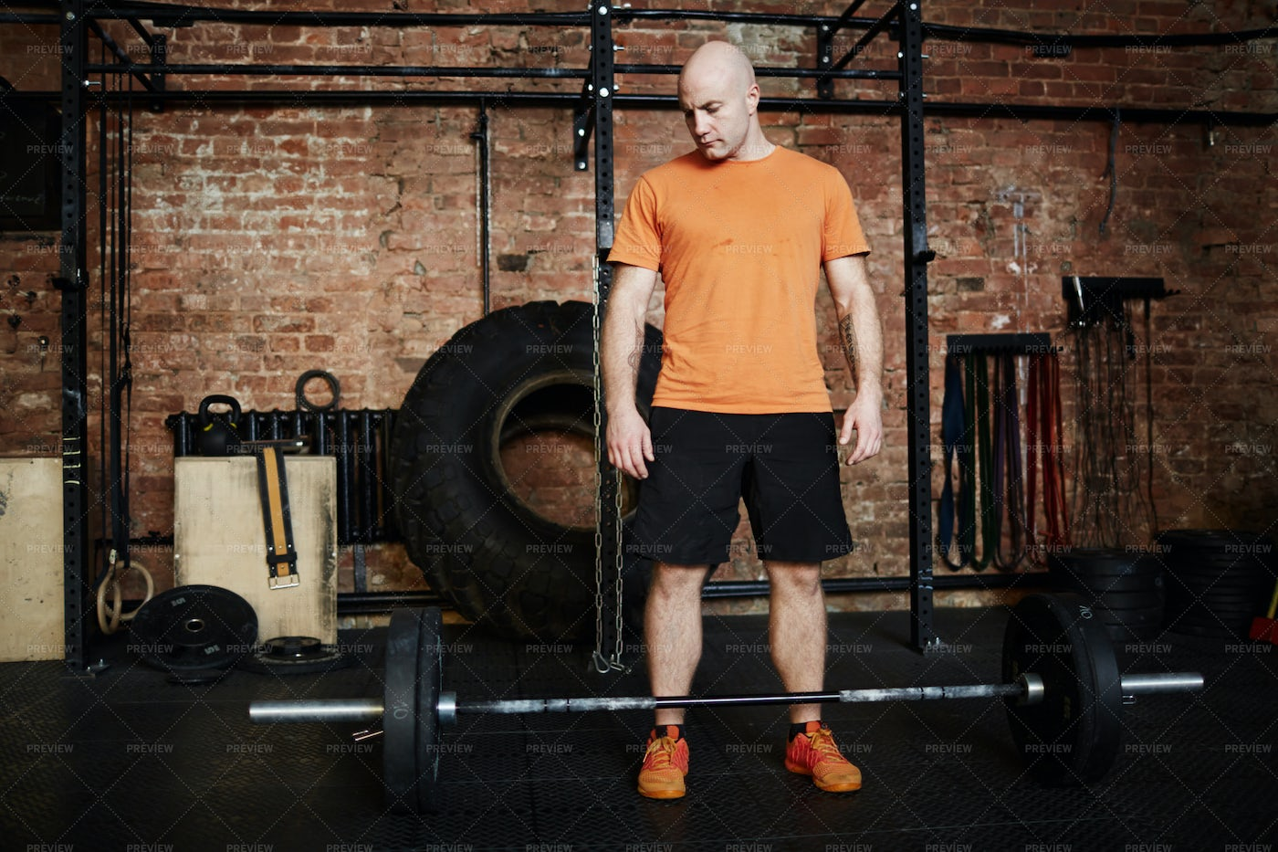 Intensive Training With Barbell: Stock Photos