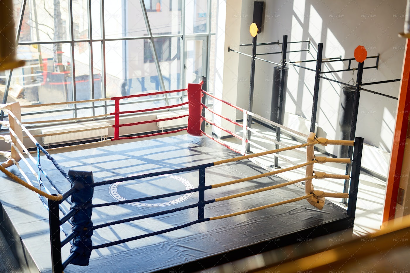 Empty Boxing Ring In Fight Club: Stock Photos