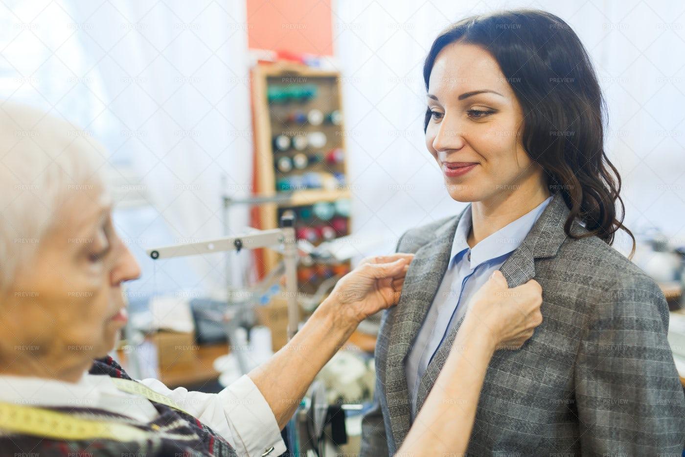 Woman Visiting Tailor: Stock Photos
