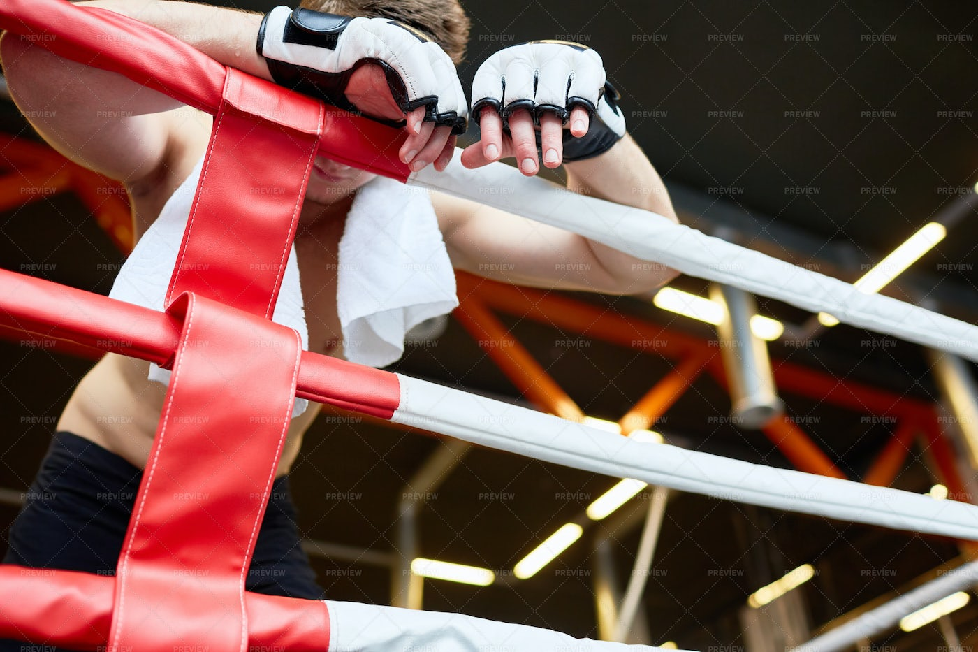 Tired Boxer Resting Against Ring Ropes: Stock Photos