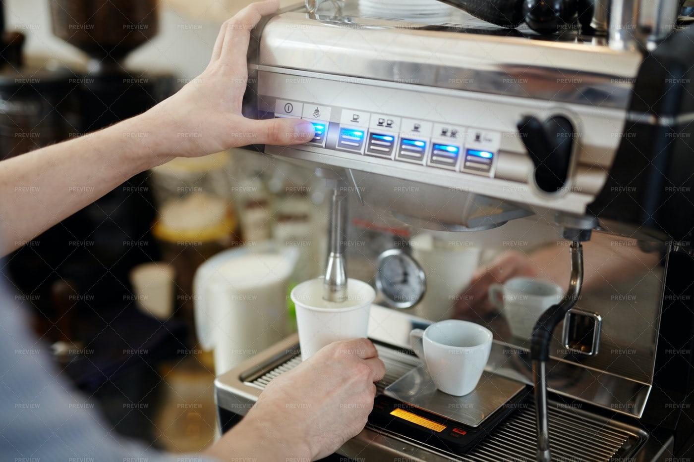 Pushing Button Of Coffee-machine: Stock Photos