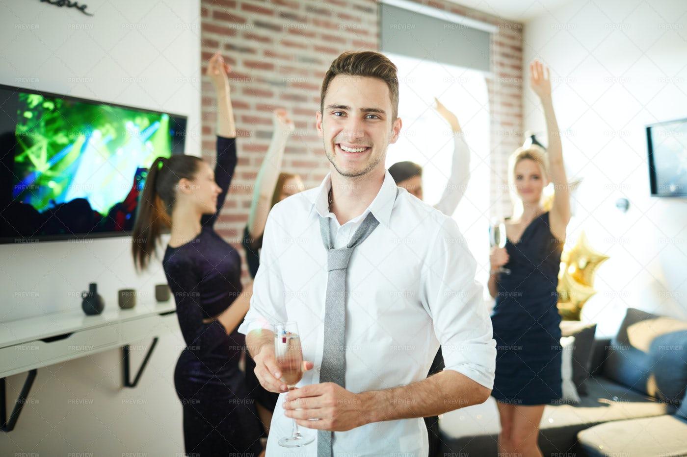 Guy At Party: Stock Photos
