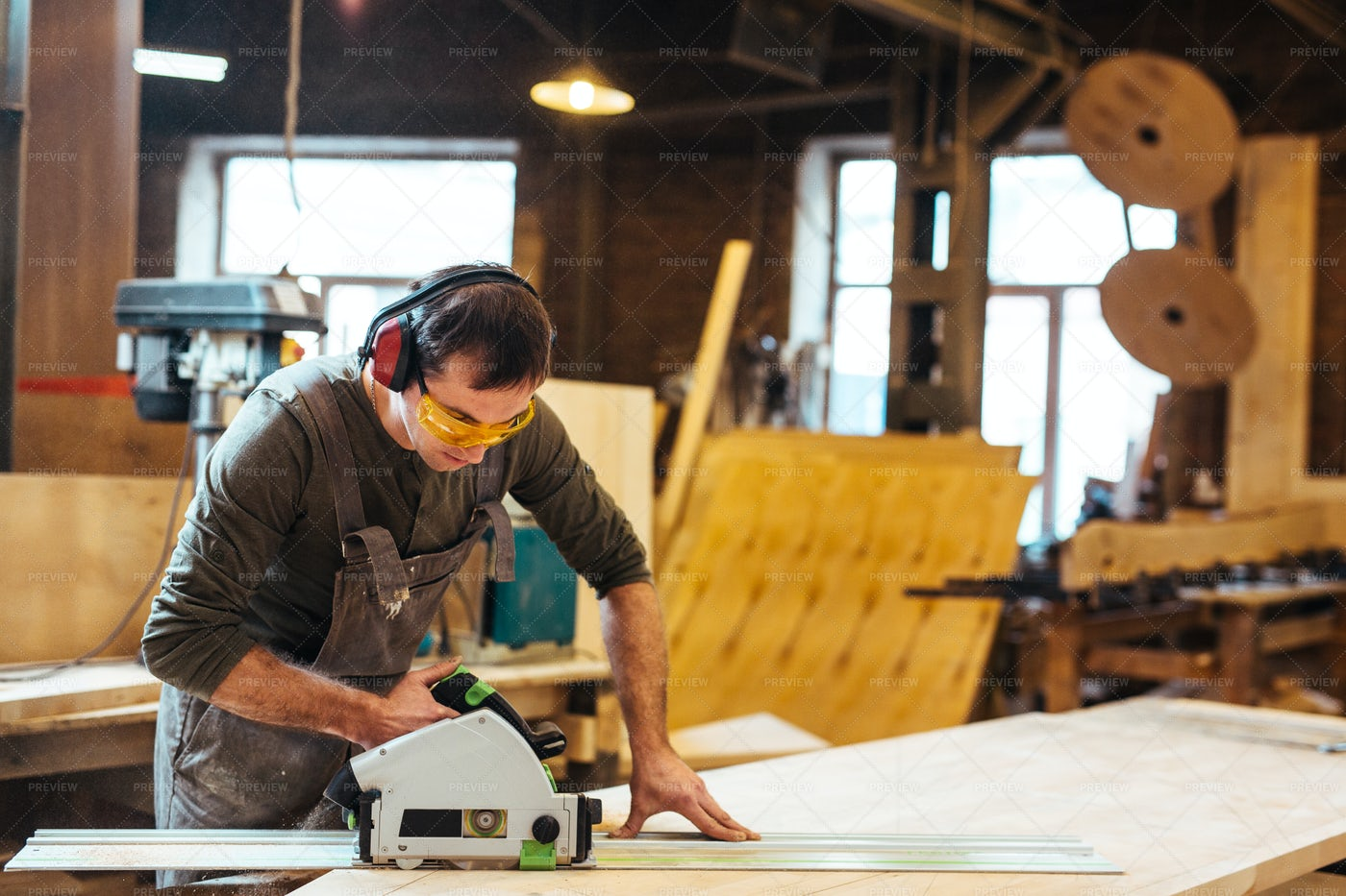 Sawing In Workroom: Stock Photos