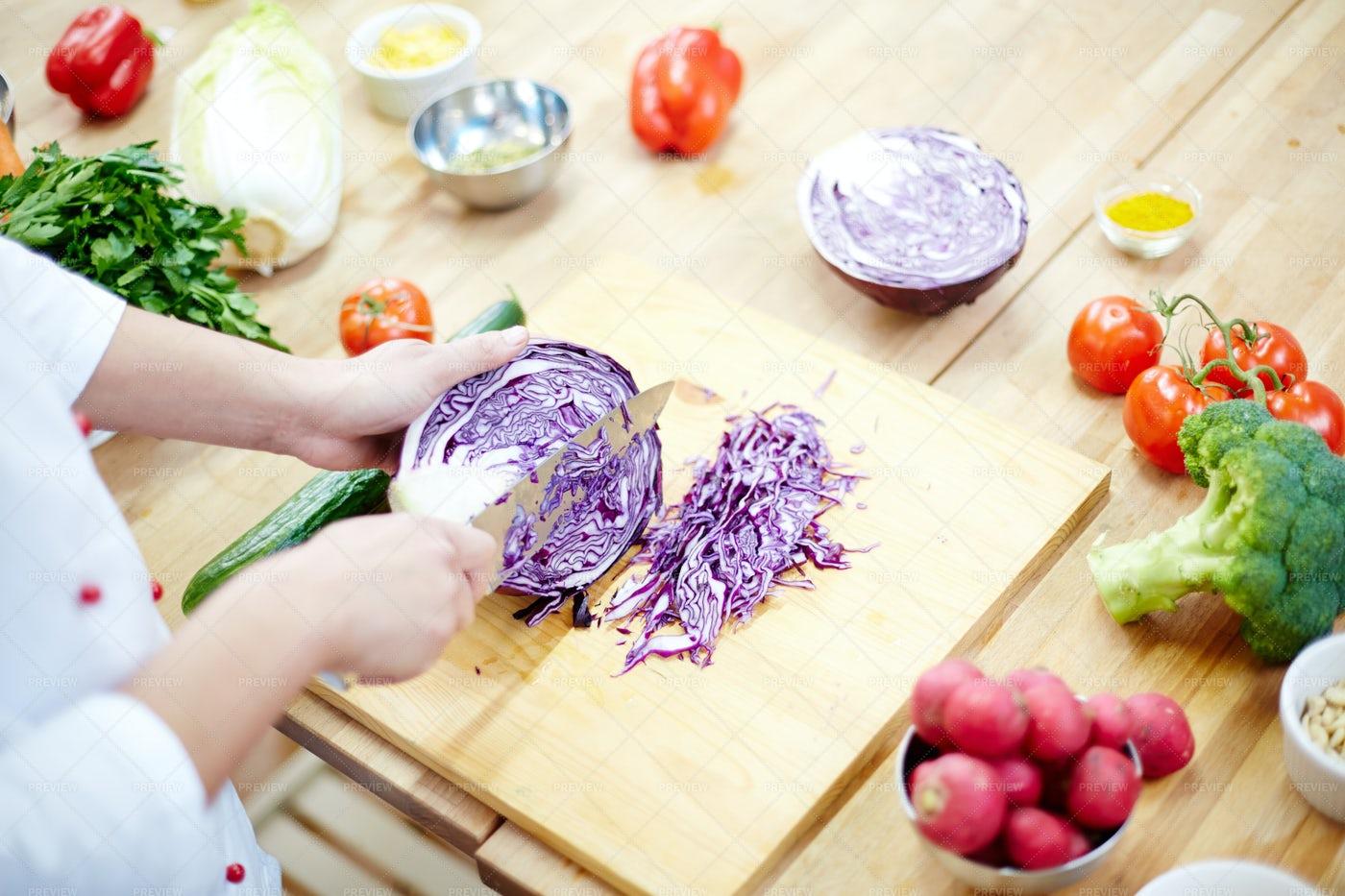 Cutting Cabbage: Stock Photos