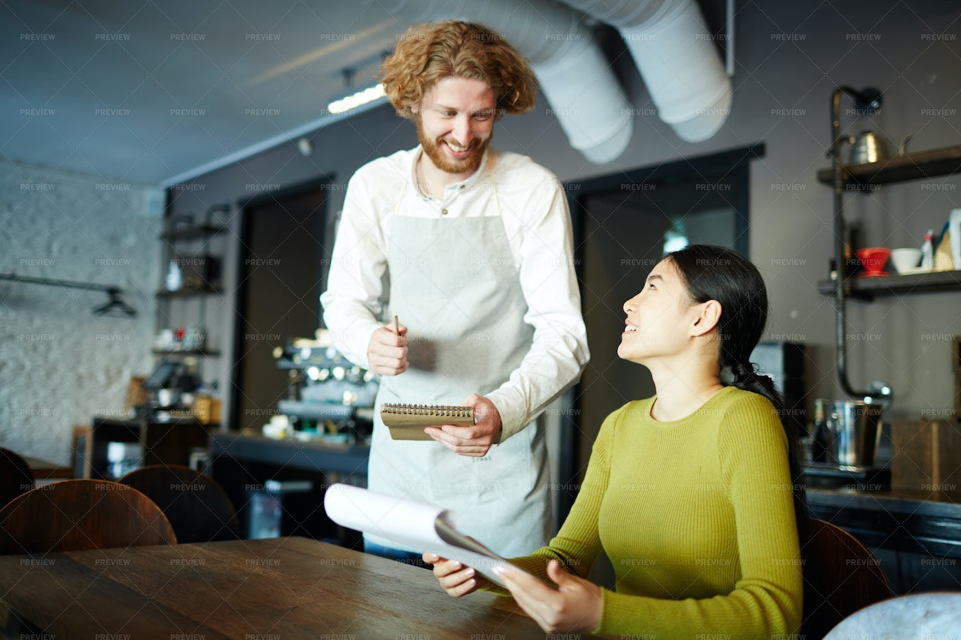 Making Order In Cafe: Stock Photos
