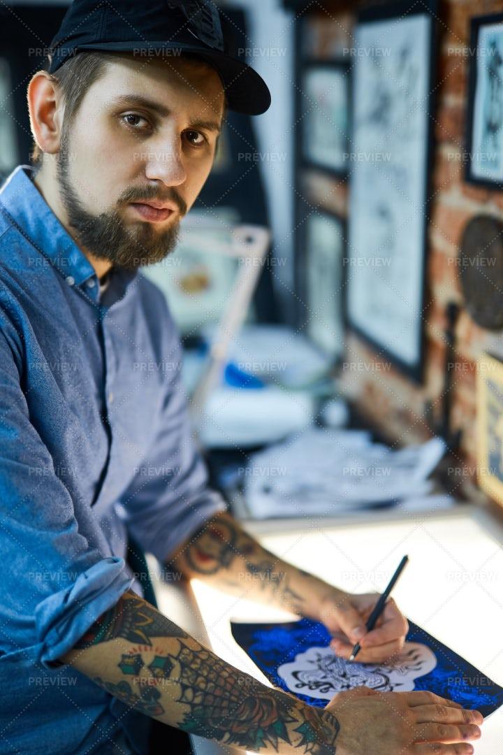 Young Tattoo Master: Stock Photos