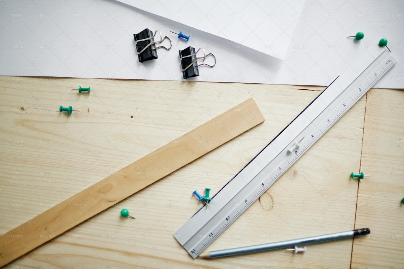 Top View Engineering Supplies On Table: Stock Photos