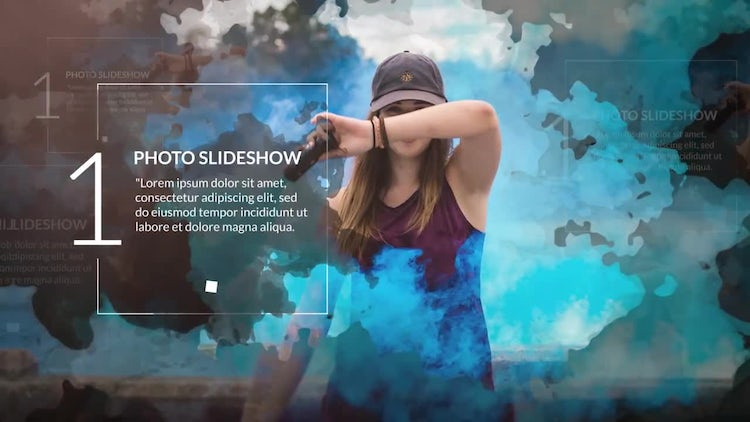 Modern Watercolor Photo Slideshow After Effects Templates - Ae slideshow template free