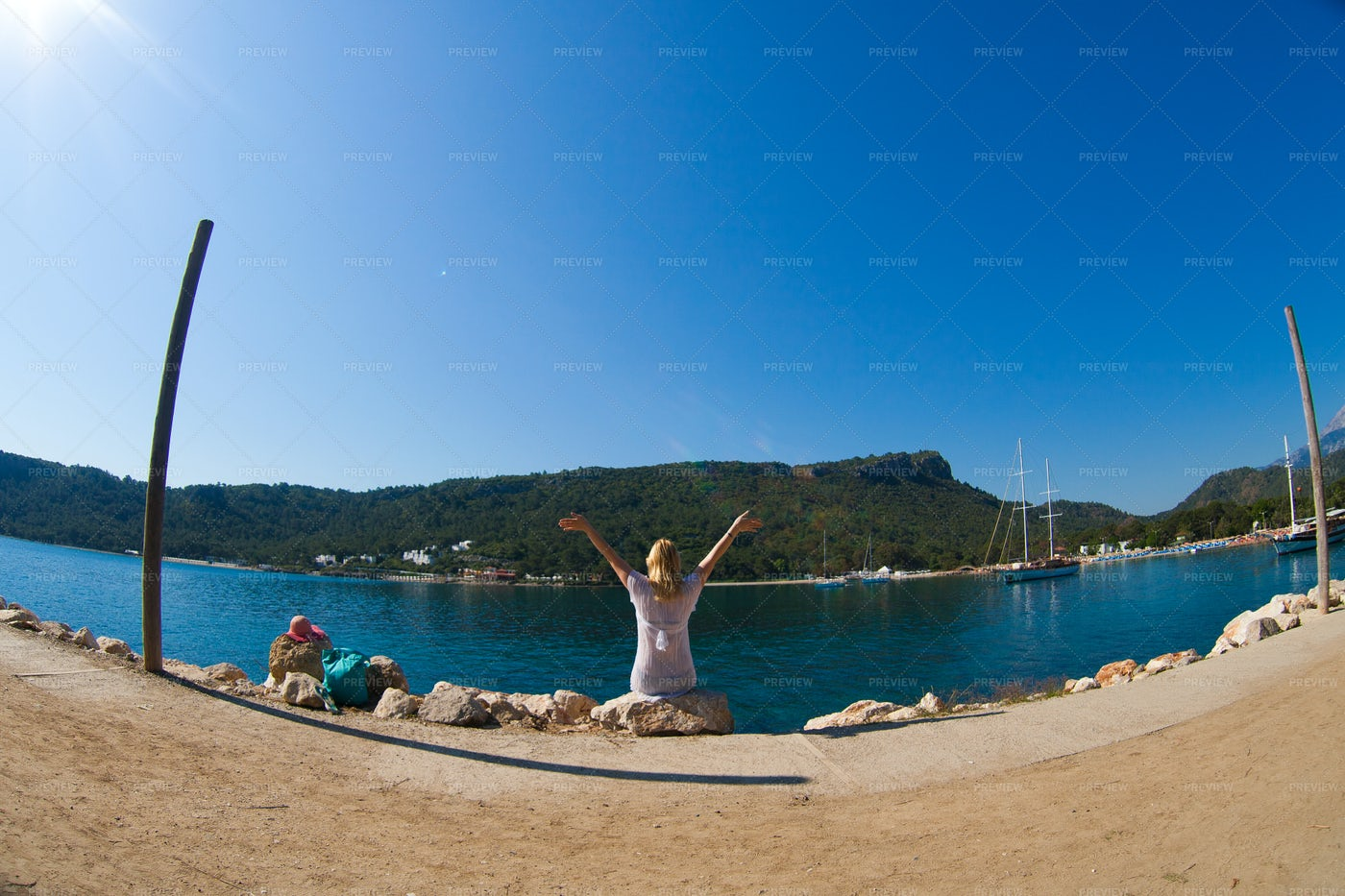 Celebrating Her Vacation: Stock Photos
