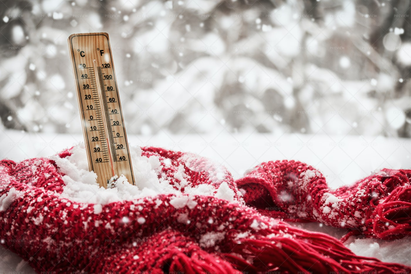 Thermometer And Scarf: Stock Photos