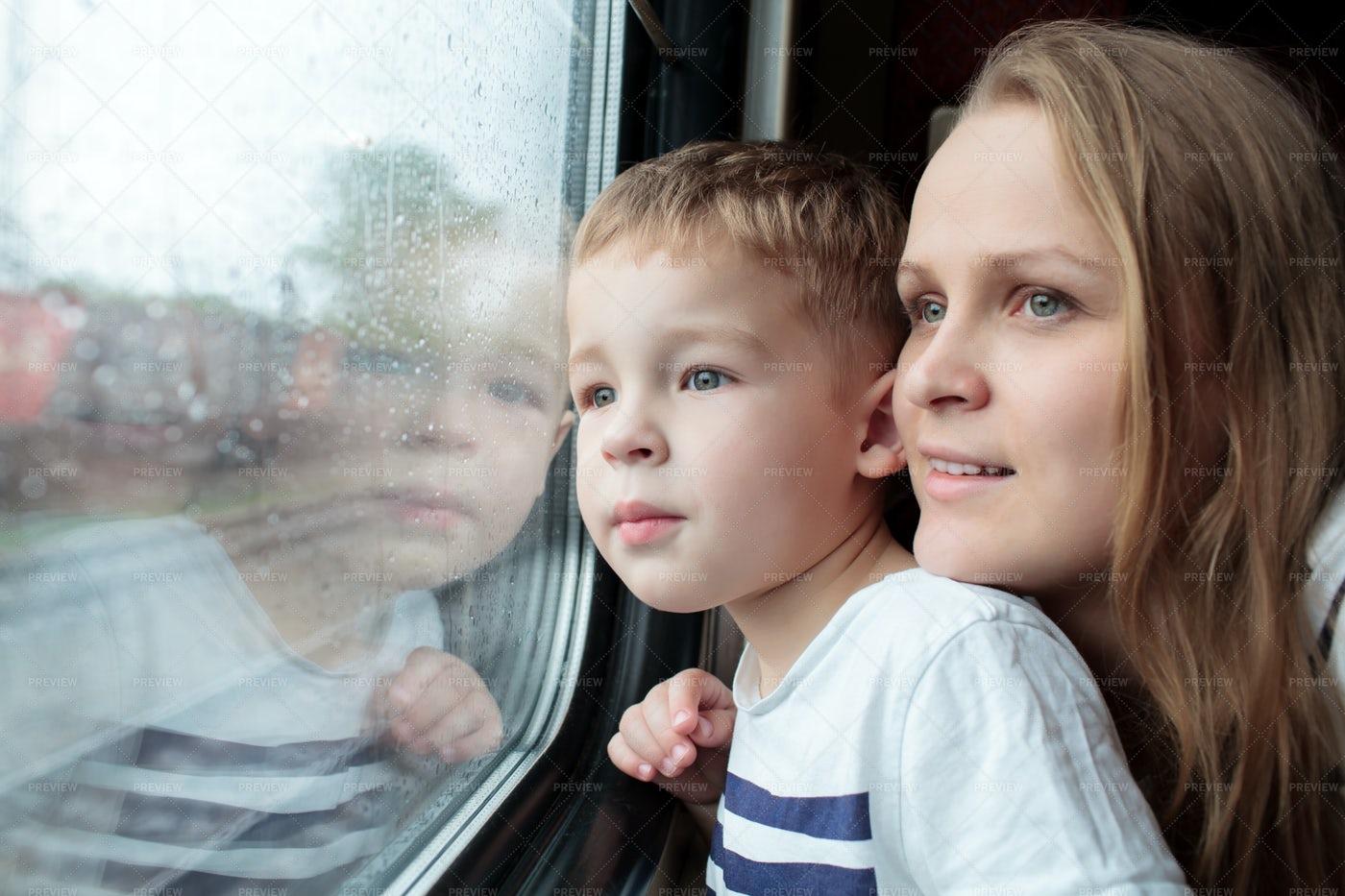 Family Train Journey: Stock Photos