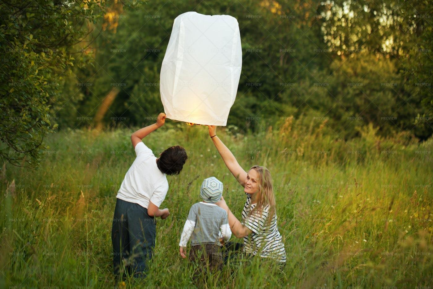 Releasing Paper Lantern: Stock Photos