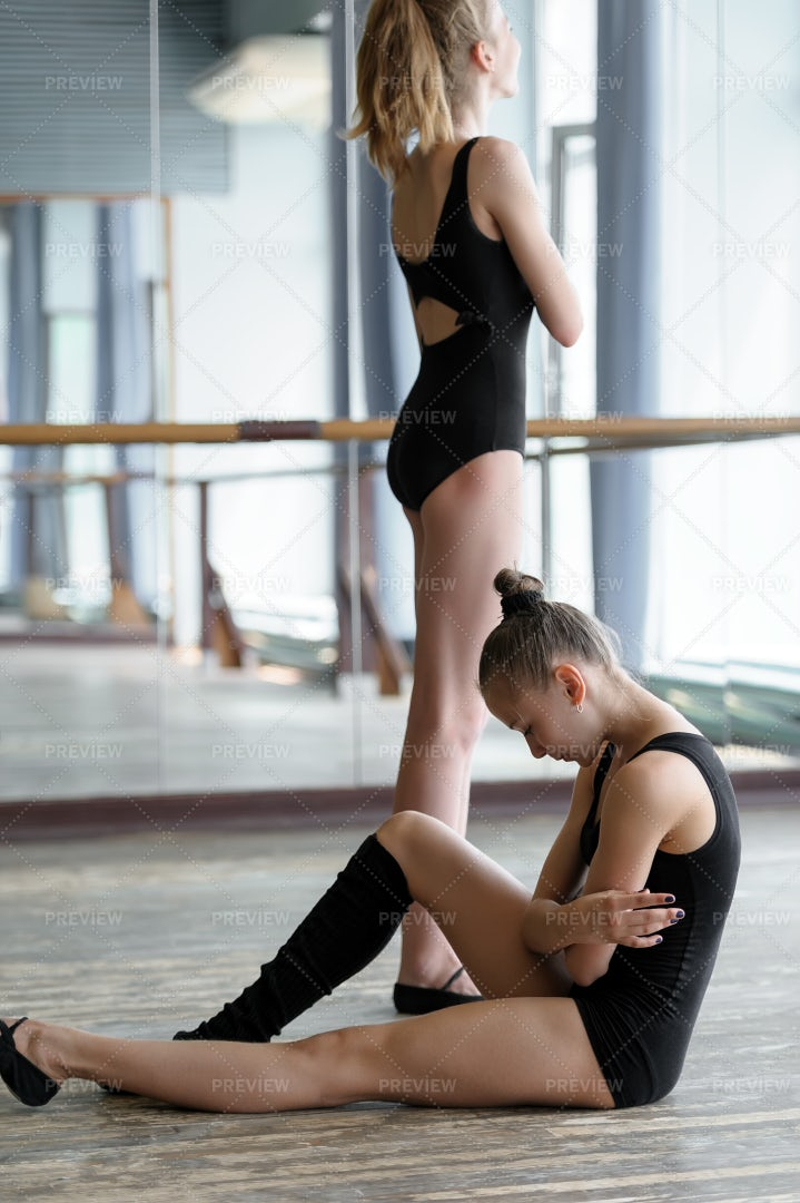 Two Young Ballet Dancers In Studio: Stock Photos