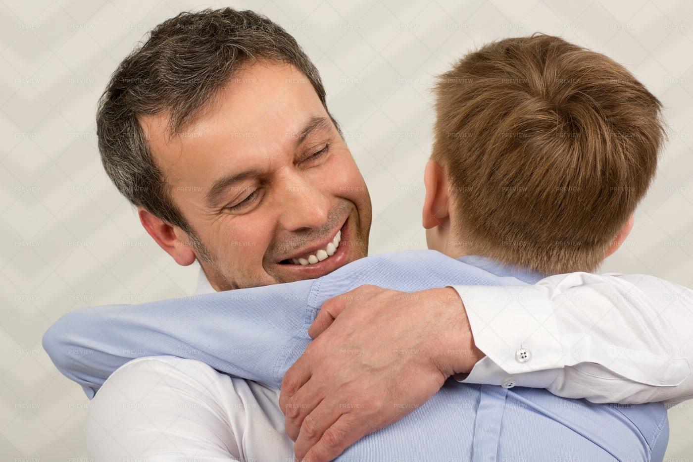 Father Hugs Son: Stock Photos