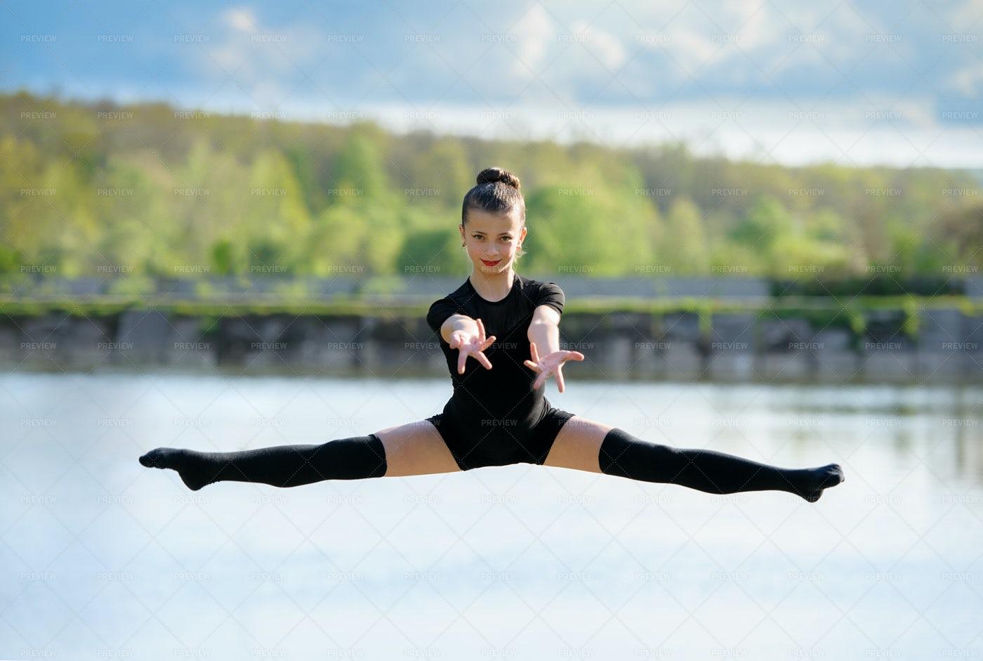 Gymnast In The Air: Stock Photos