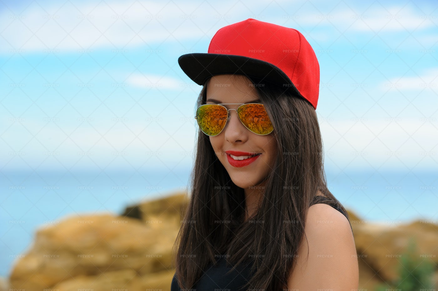 Girl In Baseball Hat And Glasses: Stock Photos