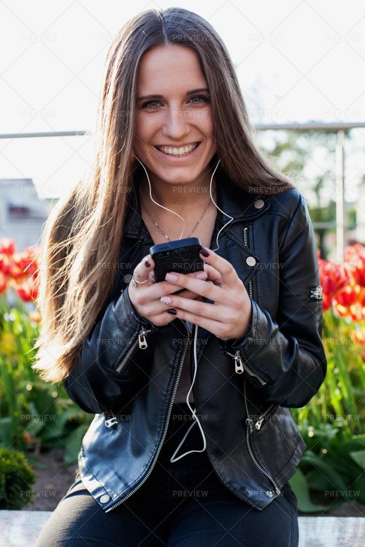 Happy Woman Using Smartphone: Stock Photos